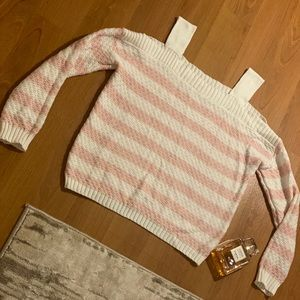 Knit Peak-a-Boo Shoulder Top (Pink/White)